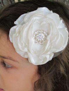 ivory bridal satin hair flower