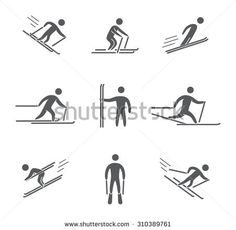 Silhouettes of figures skier icons set. Skiing vector symbols