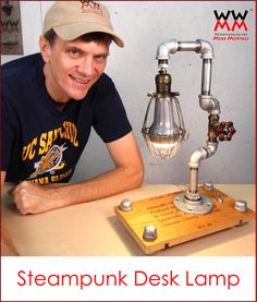 DIY Steampunk desk lamp. Special bulb also plays music via Bluetooth! Free tutorial and video.
