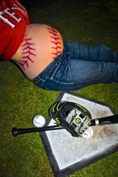 baseball maternity shoot-baseball belly-baby- Texas Rangers-pregnant pictures-belly pictures-baseball seams-