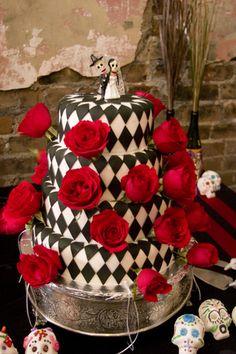 Dia de los Muertos wedding cake- love the harlequin diamond pattern!