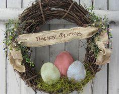 Spring Wreath Birdhouse Wreath Summer by DoorWreathsByDesign