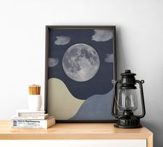 Moon and Stars with Clouds PRINT, Abstract Landscape, Boho, Art Printable Mid Century Modern Minimal Wall Art Face Line Drawing, Alphabet Print, Large Wall Art, Abstract Landscape, Printable Wall Art, Wall Prints, Mid-century Modern, Digital Prints, Mid Century