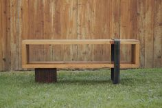 Arbor Exchange | Reclaimed Wood Furniture: Consule Bench with Custom Metal Base