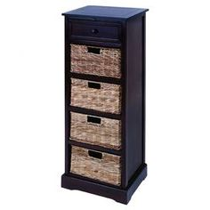 "Wood cabinet with one drawer and four pull-out wicker baskets.  Product: Cabinet Construction Material: Wood and wickerColor: Dark woodFeatures:  Four shelves and one top drawerFour wicker baskets included Dimensions: 45"" H x 16"" W x 13"" D"