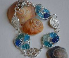 Turquoise, Aqua Blue Genuine Sea Glass Nautilus In  Hand Wrapped Fine Silver Wire Bracelet with Fine Silver PMC