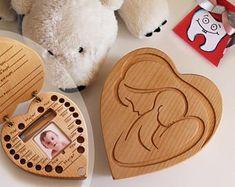 f/ür Milchzahn f/ür Jungen Cartoon-Muster Depory Teeth Box Aufbewahrungsbox aus Holz