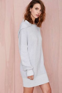 light gray knit hooded tunic