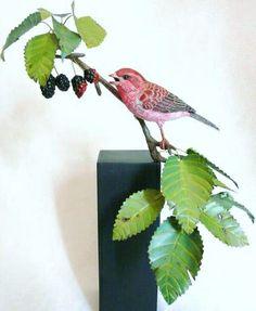 Purple finch bird carving by Tim McEachern