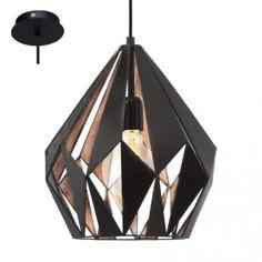 Geometryczna lampa wisząca Carlton1 czarna wewnątrz miedziana w stylu vintage industrialnym loftowym