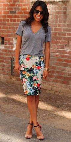 Everyday Look, Fashion Looks, Clothes For Women, Floral, Womens Fashion, Skirts, Stuff To Buy, Color, Outfits