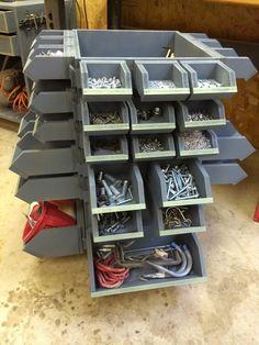 French Cleat Hardware Storage with cutoff storage in the center. Built on a lazy susan. Garage Tool Storage, Workshop Storage, Workshop Organization, Garage Tools, Garage Workshop, Diy Storage, Garage Shop, Homemade Storage, Workshop Ideas