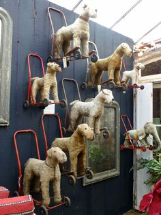 The vintage dog walkers make a fantastic display at Petersham Nurseries Holiday just love, love, love Petersham Antique Toys, Vintage Antiques, Antique Decor, Estilo Pin Up, Wire Fox Terrier, Fox Terriers, Living Vintage, Displaying Collections, Old Toys
