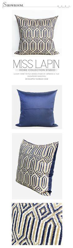 新古典/样板房家居软装设计师靠包抱枕/蓝色古典几何图案绣花方枕/布艺pillow /cushion /cushion cover-淘宝网