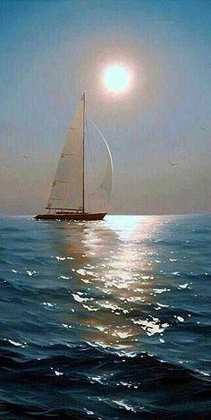 Sailboat Art, Sailboat Painting, Sailboats, Ship Paintings, Seascape Paintings, Old Sailing Ships, Ocean Pictures, Night Photos, Fantasy Landscape
