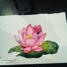 Watercolor painting Lotus for my friend Mauri #watercolor #painting