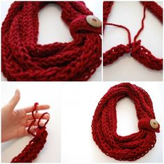 Stricken İdeen : DIY Finger Knit Infinity Scarf DIY Finger Knit Infinity Scarf by diyforever, Diy Finger Knitting, Finger Knitting Projects, Finger Crochet, Knitting Basics, Arm Knitting, Knitting For Beginners, Knitting Socks, Knitting Patterns, Diy Crochet Scarf