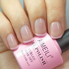 Try to have fun with our large variety of AIMEILI gel nail polish to get gorgeous nail art designs at home! French Nails, French Nail Polish, French Manicure Gel Nails, Acrylic Nails, Nail Polish Colors, Gel Nail Polish, Nail Tip Colors, Nail Nail, Pink Nails