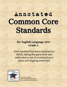 Annotated Common Core Standards 5th grade