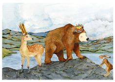 King Bear and Queen Deer with Hare A4 Giclee print £14.00