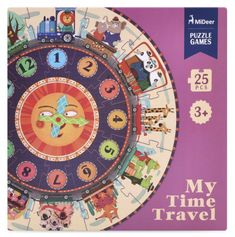 My Time Travel Clock Puzzle Travel Box, Time Travel, Steam Toys, Floor Puzzle, Colorful Animals, Telling Time, Game 1, Teaching Kids, No Time For Me
