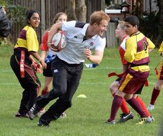 britishroyals:  Prince Harry, Patron of England Rugby's All Schools Programme, played touch rugby against school children during a teacher training session at Eccles, RFC, October 20, 2014
