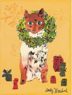 By Andy Warhol, Christmas Cat. Art Pop, Pablo Picasso, Christmas Cats, Merry Christmas, Illustrations, Illustration Art, Pop Art Andy Warhol, Johannes Itten, Maurice Careme