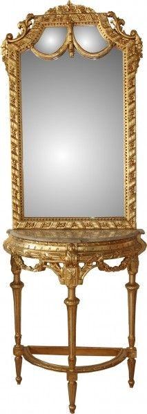 Casa Padrino Luxus Barock Spiegelkonsole Gold Lion - Luxus