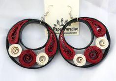 Quilling orecchini anello ciondolante Borgogna - accessorio artigianale a mano