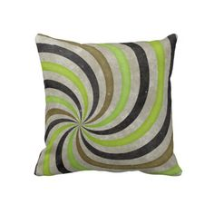 Groovy Retro Spiral Sunbeam Ray Swirl Pillows