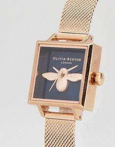Shop the latest Olivia Burton Bee Square Mesh Watch In Rose Gold trends with ASOS! Or Rose, Rose Gold, Gold Watch, Asos, Bee, Watches, My Style, Fashion Online, Products