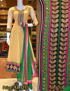 Captivating churidhar with a classic design. To see more churidhars like this, please visit Pothys Boutique, G N Chetty Road, T Nagar, Chennai.