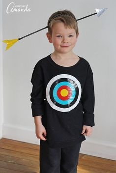 Use duct tape to create this funny bullseye costume kids will love. Step by step instructions for using duck tape to create arrow hat & bullseye.