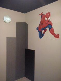 """""""Spiderman"""" Mural temático pintado en habitación niño 4 años. Beatriz Arizmendi 2014"""