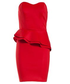 Red (Red) Red Slant Peplum Strapless Dress | 256242660 | New Look