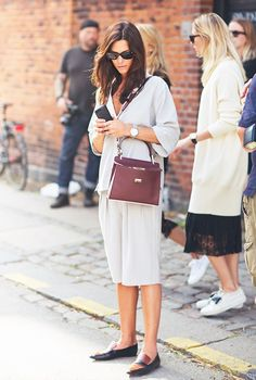 Silk separates and loafers feel office-ready but relaxed. #streetstyle