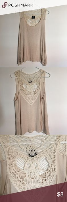 Tan Lace-back Tanktop Tank lace back hippie tank top. Great condition. Only worn a few times. It's very flowy and could definitely fit like a medium. bobeau Tops Tank Tops