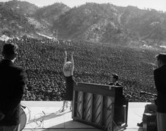 Marilyn Monroe performing for the thousands of allied troops in Korea, February 11th, 1954