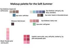 Interesting. Makeup palette for the Soft Summer (blue, green and brown eyed Soft Summers)