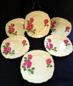 Side Plates, Vintage China, Bone China, Free Delivery, Decorative Plates, Roses, Antiques, Shop, Pink