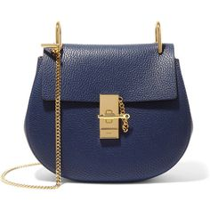 Chloé Drew small textured-leather shoulder bag ($1,480) ❤ liked on Polyvore featuring bags, handbags, shoulder bags, navy, navy blue purse, navy blue shoulder bag, blue purse, blue shoulder bag and crossbody purse