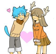 GUMBALL & PENNY as anime (amazing world of gumball) >.< :D