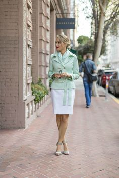 mint green blouse with pencil skirt