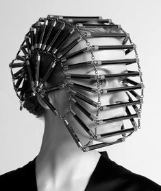 avant garde couture half-wheel beaded chain face mask - source not provided - pinned by RokStarroad.com