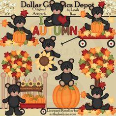 Autumn Bears 2 - Clip Art