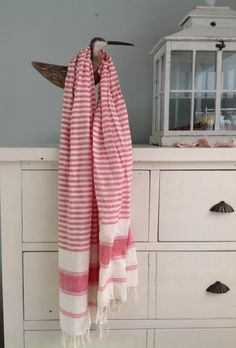 Linen Country Scarf Red Stripe