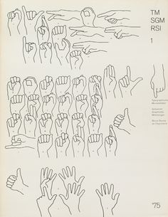 Cover from 1975 issue 1 (Cover Design: Heinrich Fleischhacker) Illustration using Fingerspelling (dactylology).