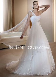 Wedding Dresses - $129.99 - A-Line/Princess One-Shoulder Court Train Satin  Tulle Wedding Dresses With Ruffle (002006373) http://jenjenhouse.com/A-line-Princess-One-shoulder-Court-Train-Satin--Tulle-Wedding-Dresses-With-Ruffle-002006373-g6373