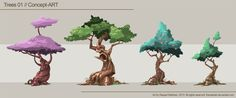 Trees 01 Concept-Art by TheRealRaki Game Design, Prop Design, Environment Concept, Environment Design, Game Environment, Zentangle, Character Concept, Character Design, Doodle Drawing