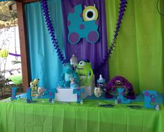Monsters Inc Baby Shower  One of two dessert tables.